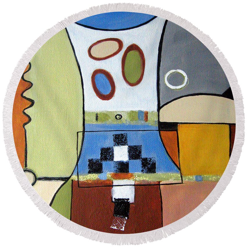 Abstract Round Beach Towel featuring the painting Headspin by Ruth Palmer