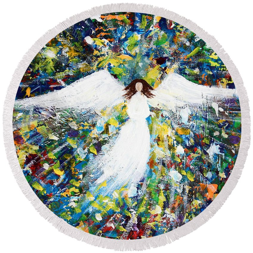 Heavenly Round Beach Towel featuring the painting Healing Angel 1 by Kume Bryant