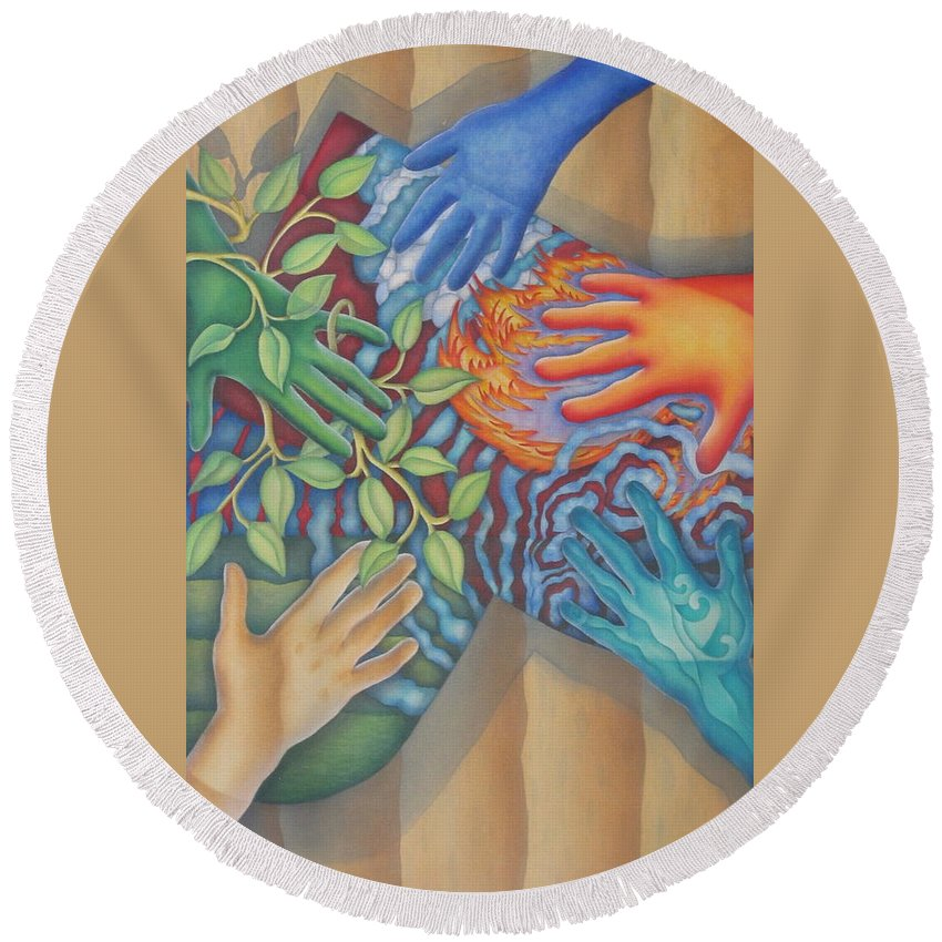 Nature. Love Round Beach Towel featuring the painting Healing Hands Of Love by Jeniffer Stapher-Thomas