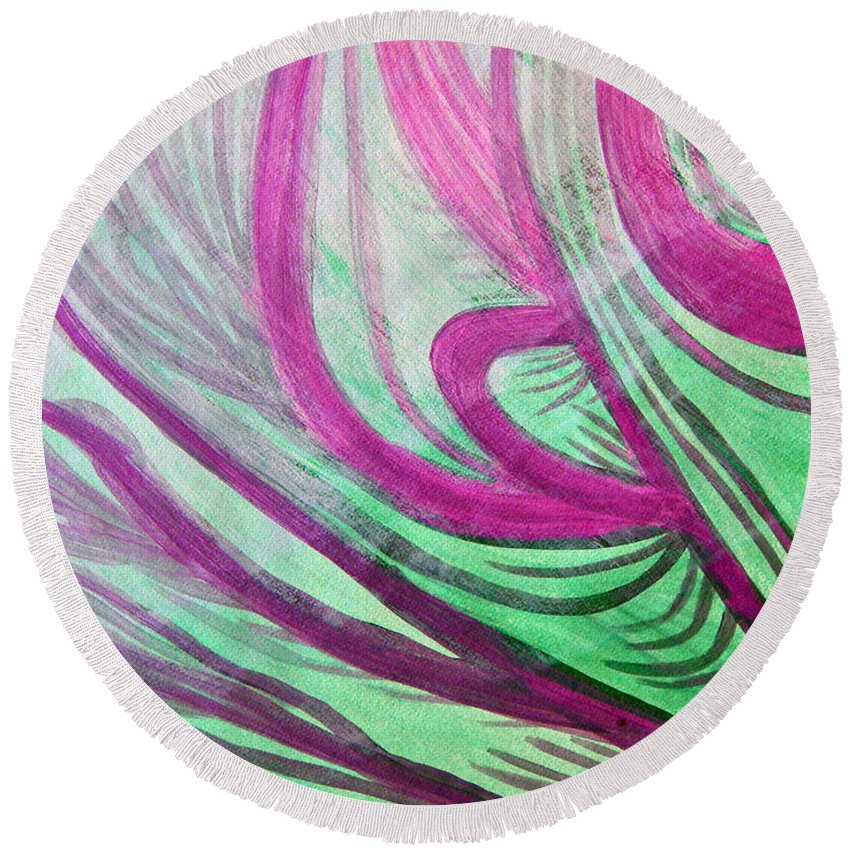 Art Round Beach Towel featuring the painting Healing Waves by Lee Serenethos