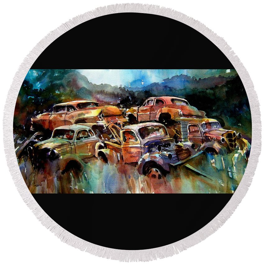 Cars Round Beach Towel featuring the painting Heaped Wrecks by Ron Morrison