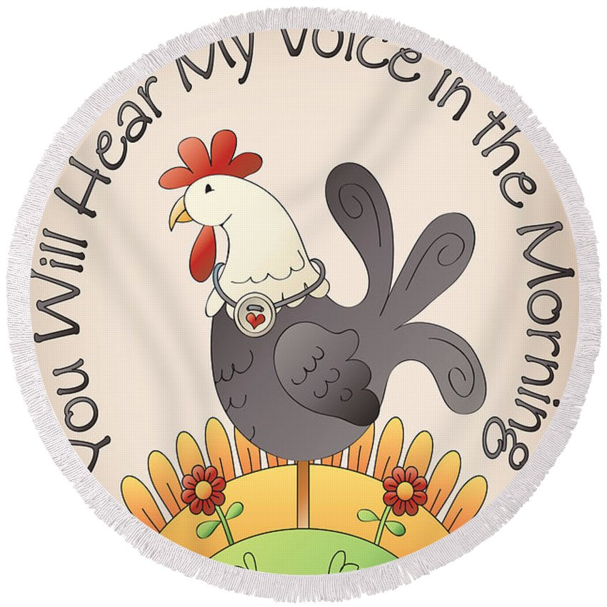 Jean Plout Round Beach Towel featuring the painting Hear My Voice-jp2835 by Jean Plout
