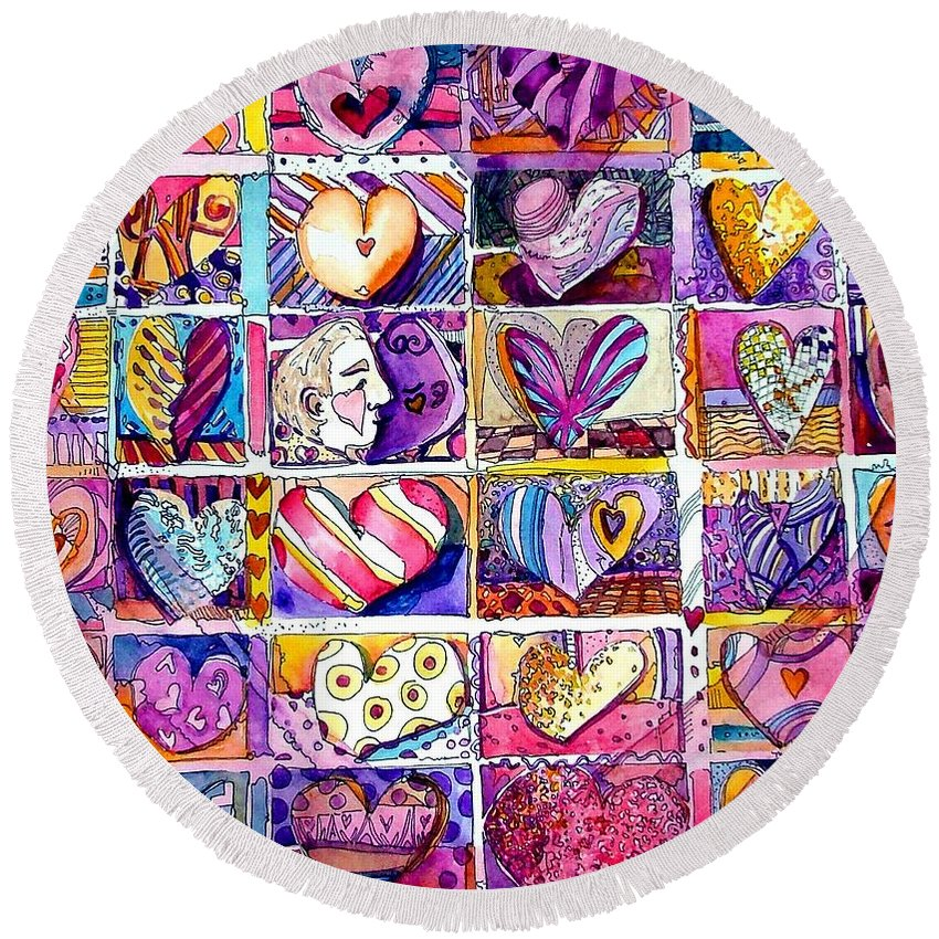Love Round Beach Towel featuring the painting Heart 2 Heart by Mindy Newman