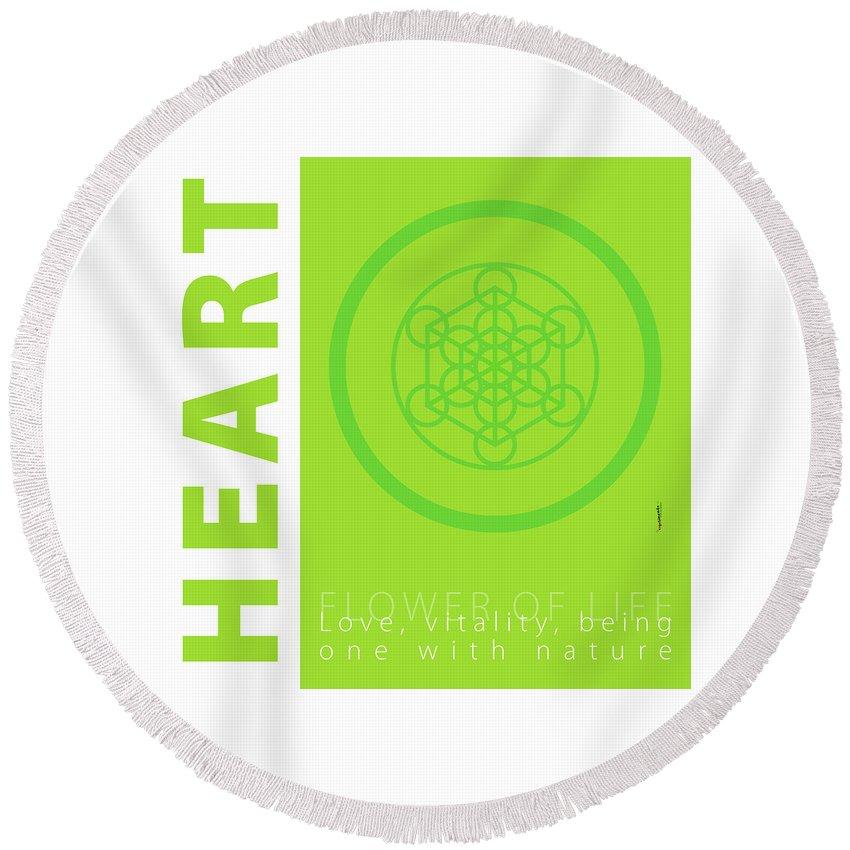 Green Round Beach Towel featuring the digital art Heart Chakra Series Three by Experimenda