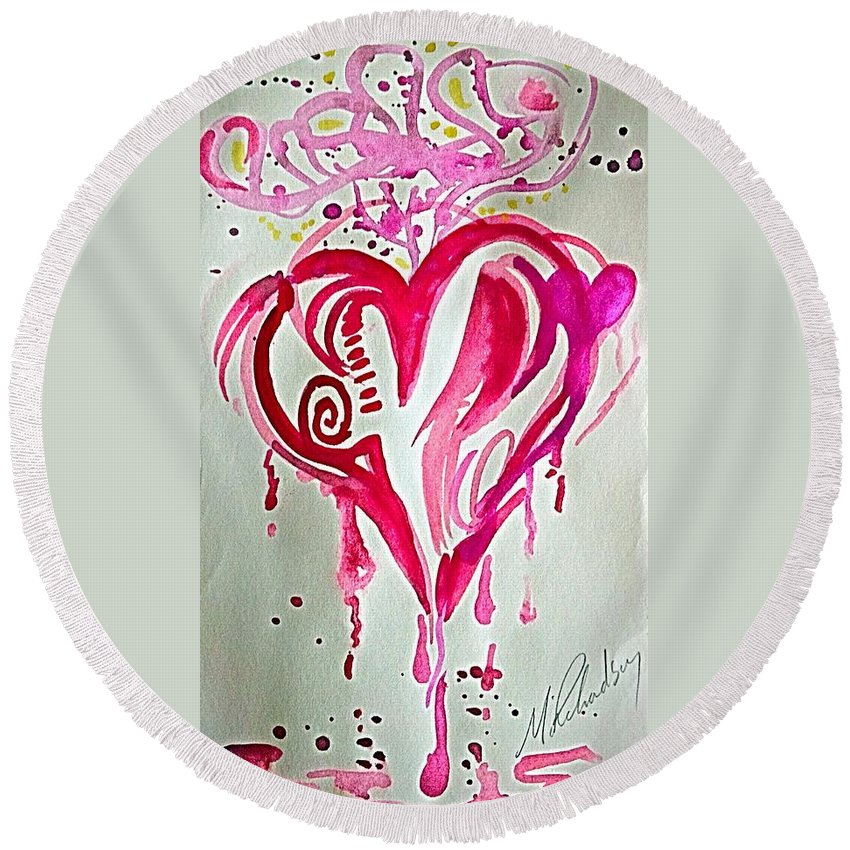 Round Beach Towel featuring the painting Heart Energy by Michael Richardson