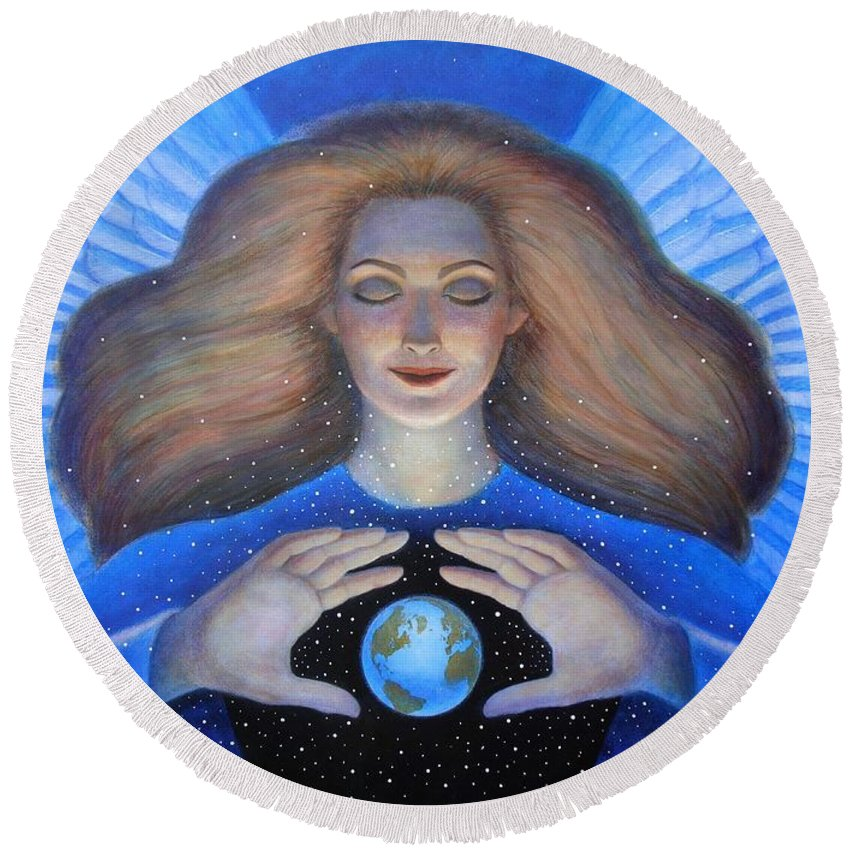 Goddess Round Beach Towel featuring the painting Heart Of Creation by Sue Halstenberg