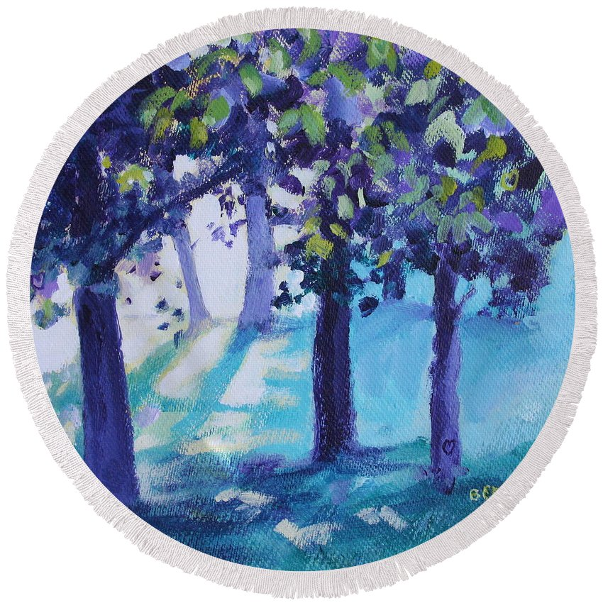Expressionist Round Beach Towel featuring the painting Heart Of The Forest by Jan Bennicoff
