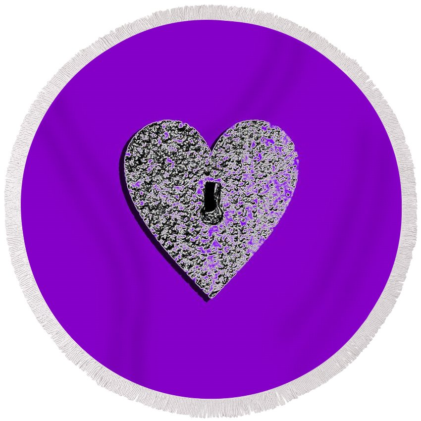 Heart Round Beach Towel featuring the photograph Heart Shaped Lock Purple .png by Al Powell Photography USA