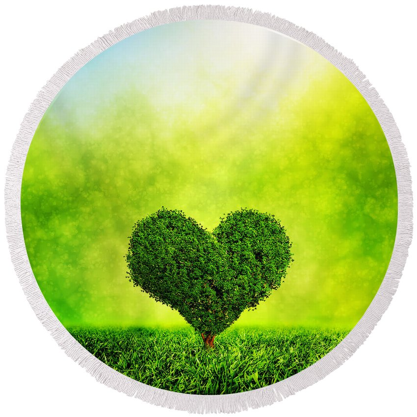 Love Round Beach Towel featuring the photograph Heart Shaped Tree Growing On Green Grass by Michal Bednarek