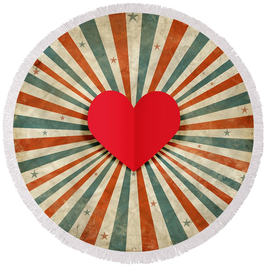 Antique Round Beach Towel featuring the photograph Heart With Ray Background by Setsiri Silapasuwanchai