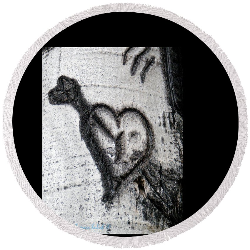 Photo Round Beach Towel featuring the photograph Heart Written In The Trees 3 by Tamara Kulish