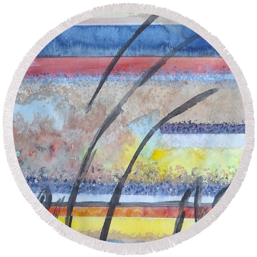 Abstract Round Beach Towel featuring the painting Heartbeat by Jacqueline Athmann