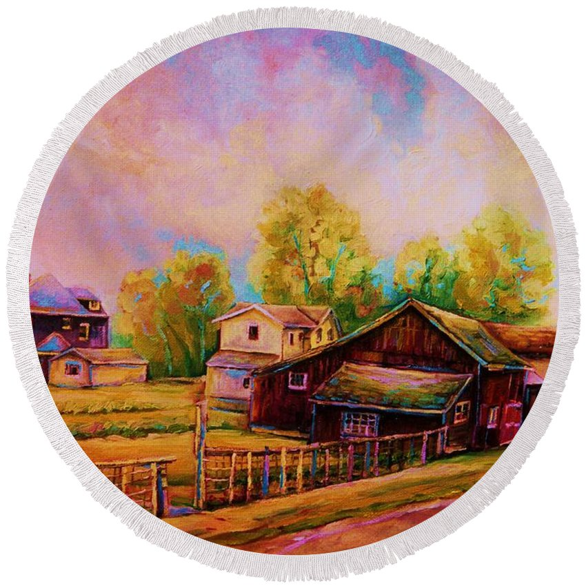 Landscape Round Beach Towel featuring the painting Hearth And Home by Carole Spandau