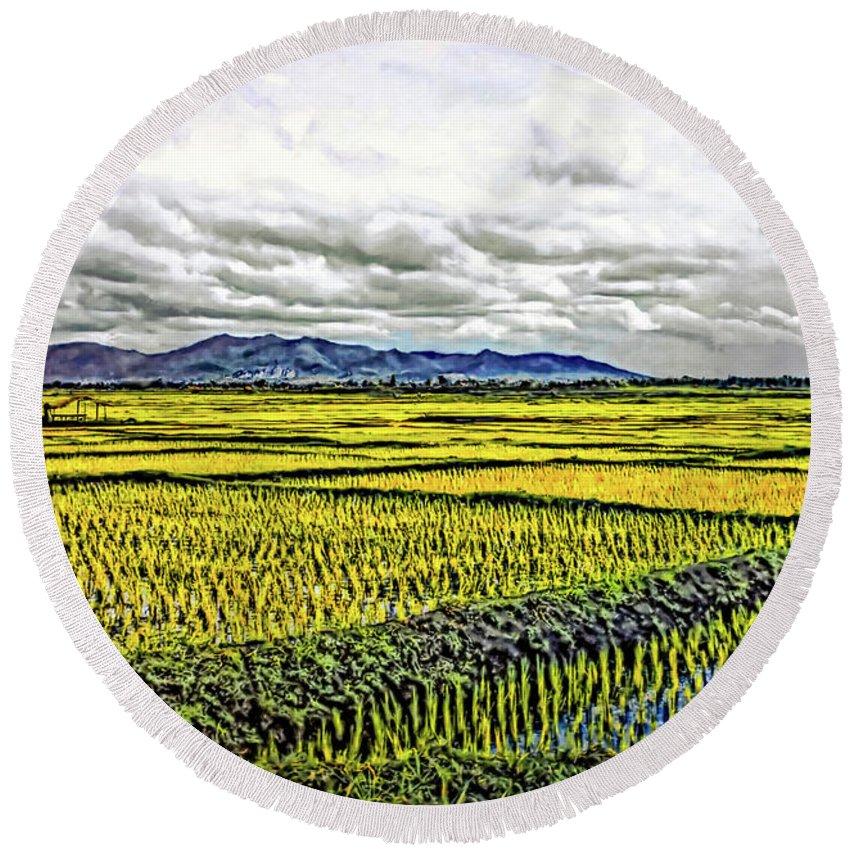 Rice Round Beach Towel featuring the photograph Heartland Oil by Steve Harrington