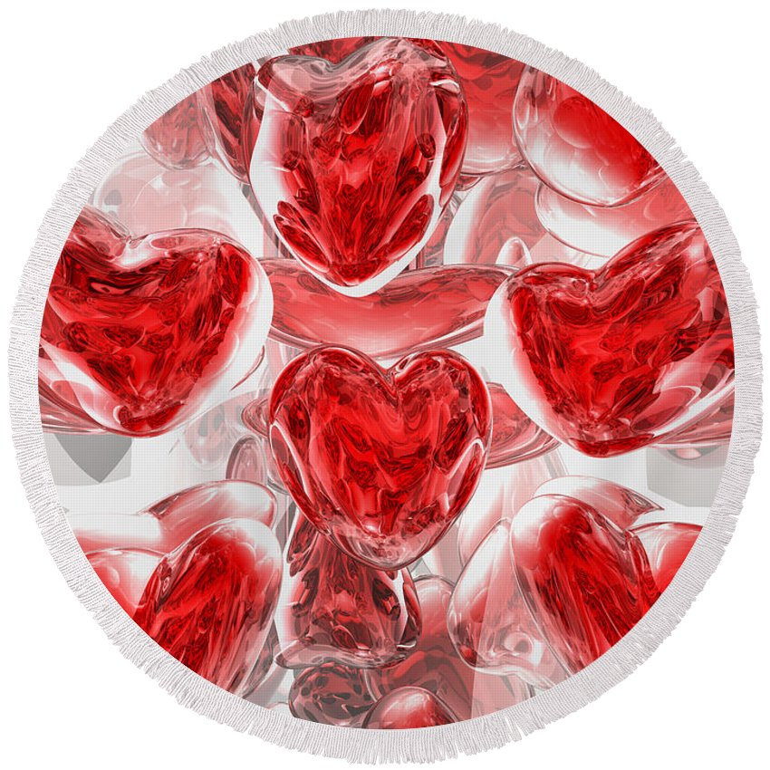 3d Round Beach Towel featuring the digital art Hearts Afire Abstract by Alexander Butler