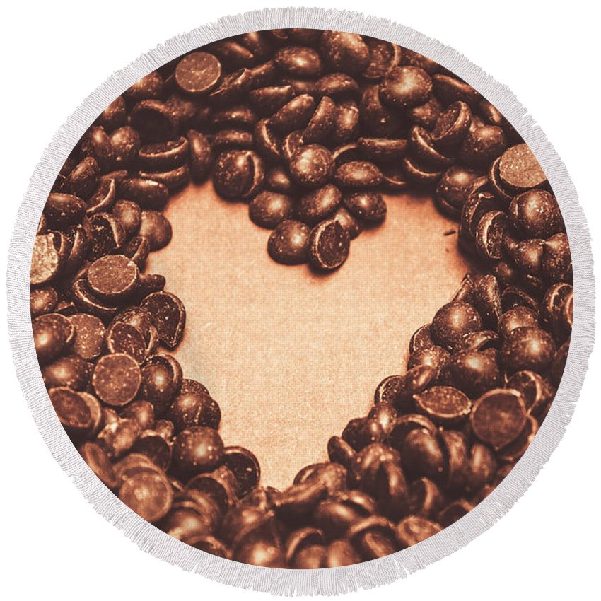 Chocolate Round Beach Towel featuring the photograph Hearts And Chocolate Drops. Valentines Background by Jorgo Photography - Wall Art Gallery