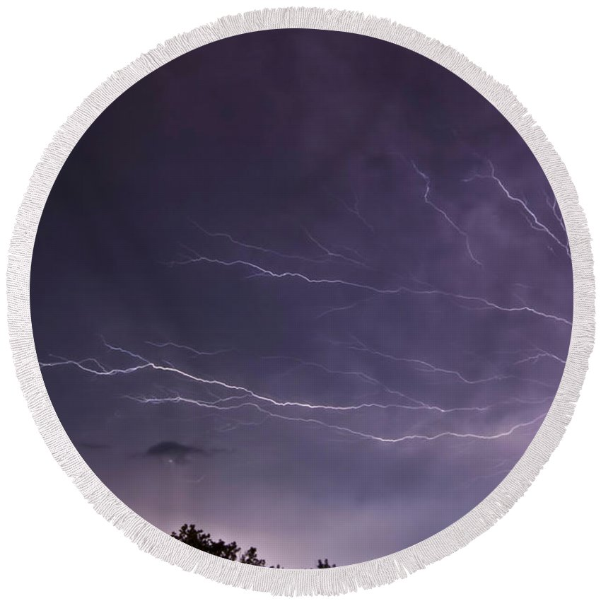 Lightning Round Beach Towel featuring the photograph Heat Lightning by Amber Flowers