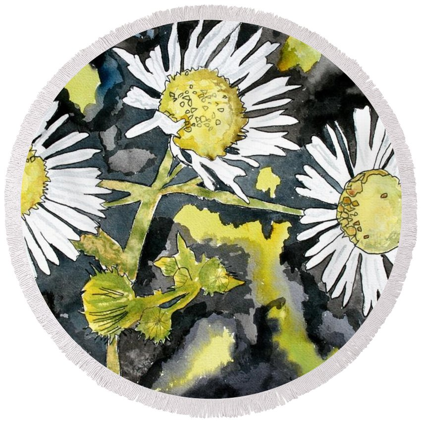 Wildflower Round Beach Towel featuring the painting Heath Aster Flower Art Print by Derek Mccrea
