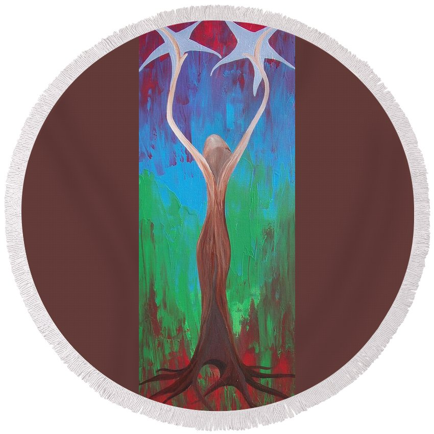 Heaven And Earth Round Beach Towel featuring the painting Heaven And Earth Energy Collection by Catt Kyriacou