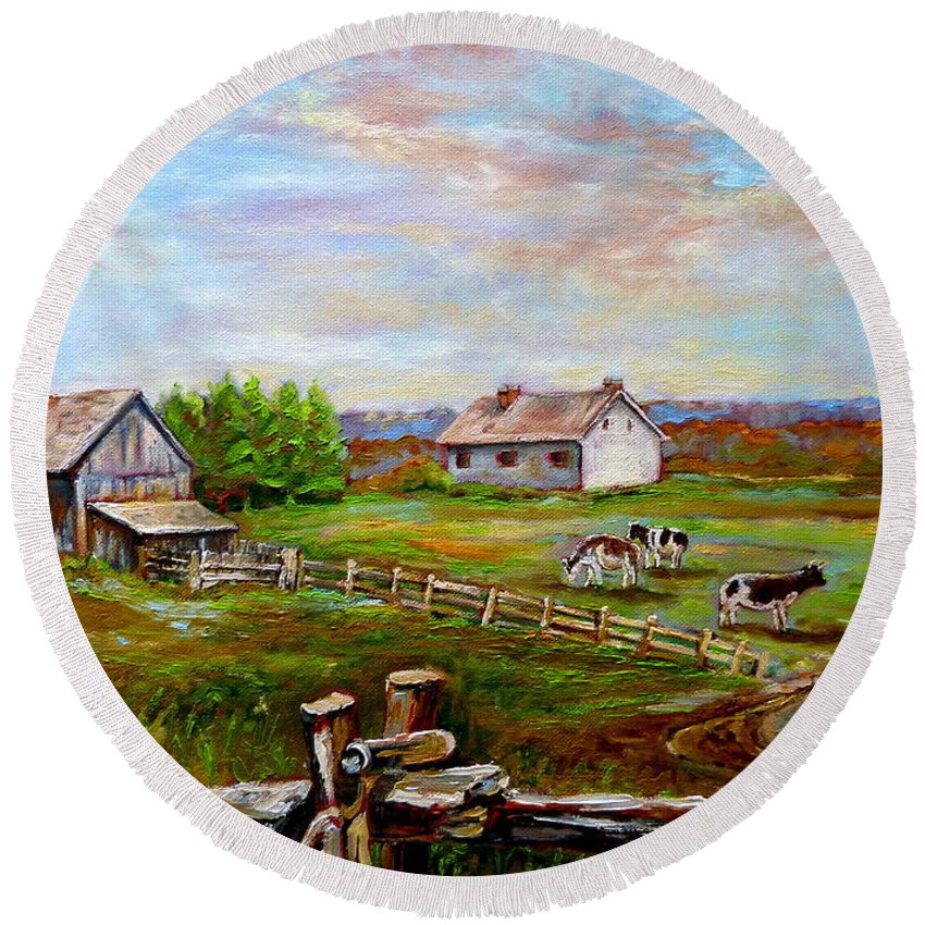 Ile D'orleans Round Beach Towel featuring the painting Heaven On Earth by Carole Spandau