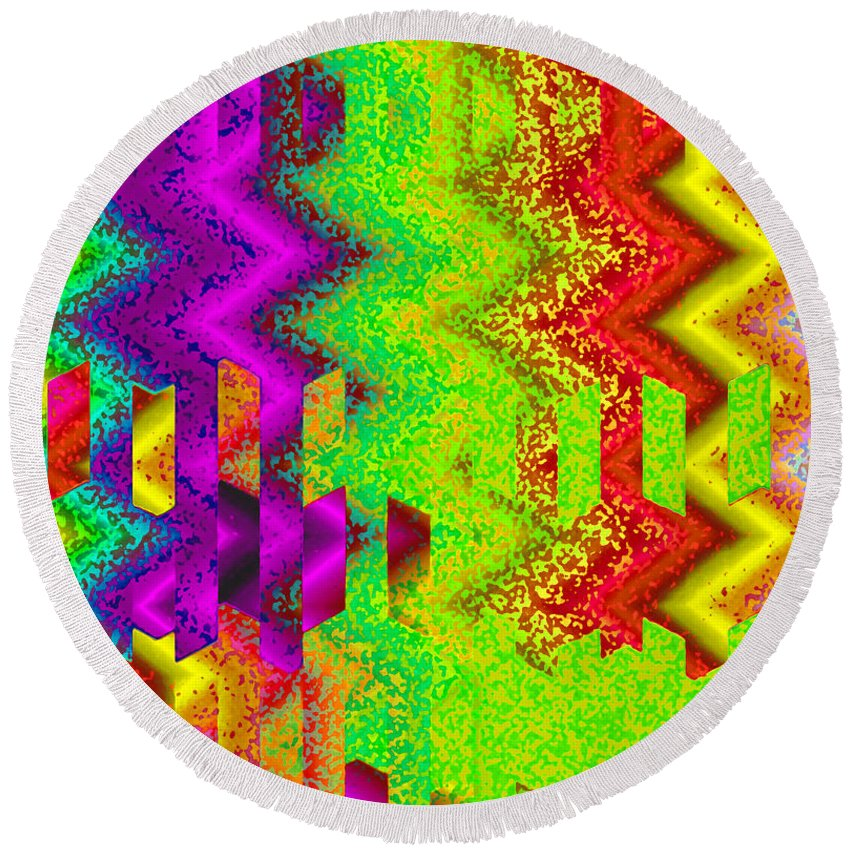 Abstract Round Beach Towel featuring the digital art Heaven by Ruth Palmer