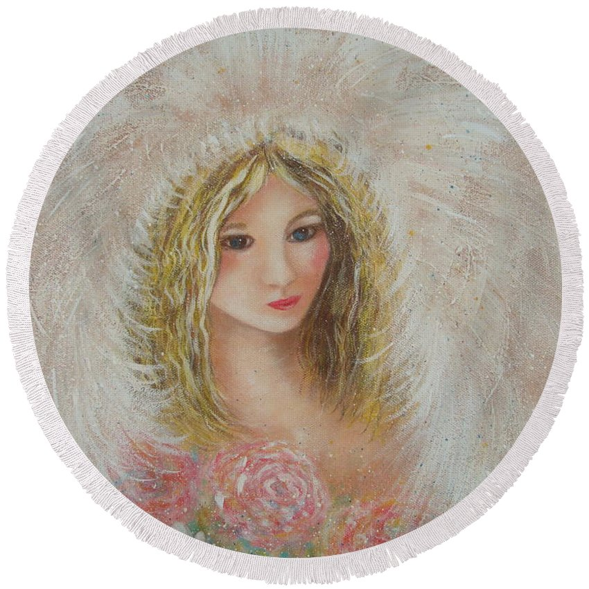 Angel Round Beach Towel featuring the painting Heavenly Angel by Natalie Holland