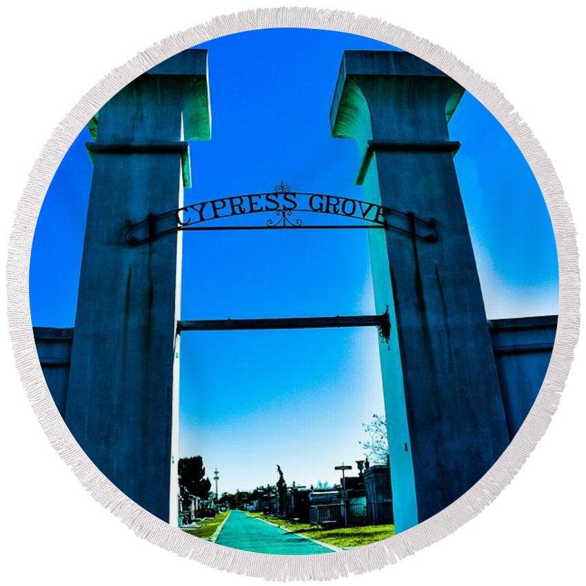 Cemetery Chris Frasier Round Beach Towel featuring the photograph Heavenly Gates by Chris Frasier