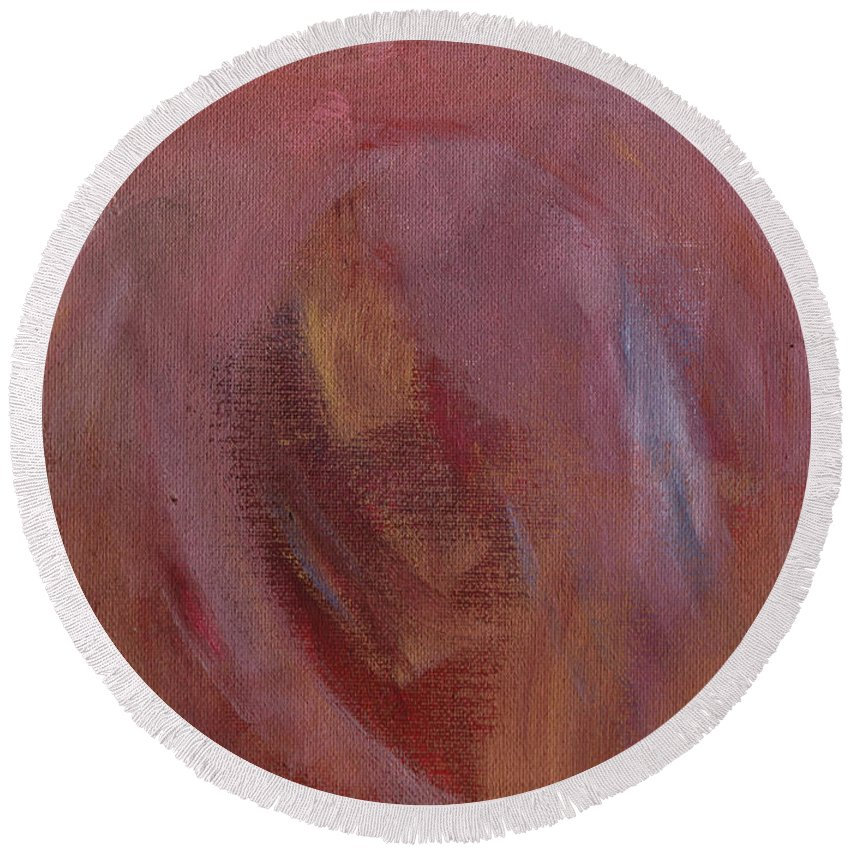 Abstract Round Beach Towel featuring the painting Heavenly Heart Detail by Jack Romero