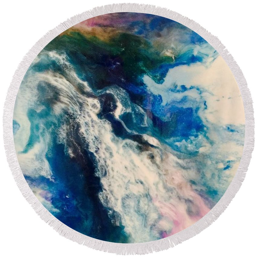 Round Beach Towel featuring the painting Heavenly by Linda Miro