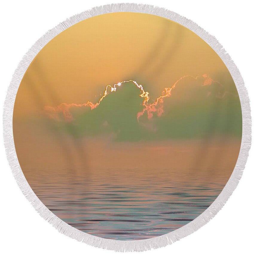 Sunset Round Beach Towel featuring the photograph Heavenly Sunset by Bill Cannon