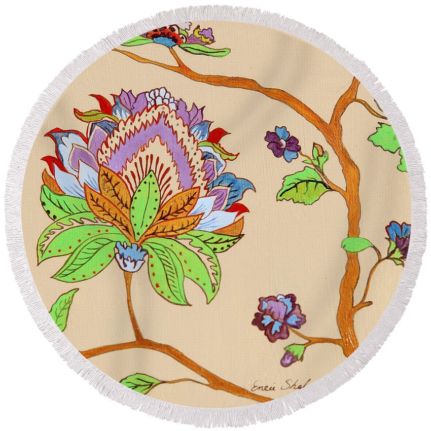 Floral Round Beach Towel featuring the painting Heavens Flower by Portraits By NC