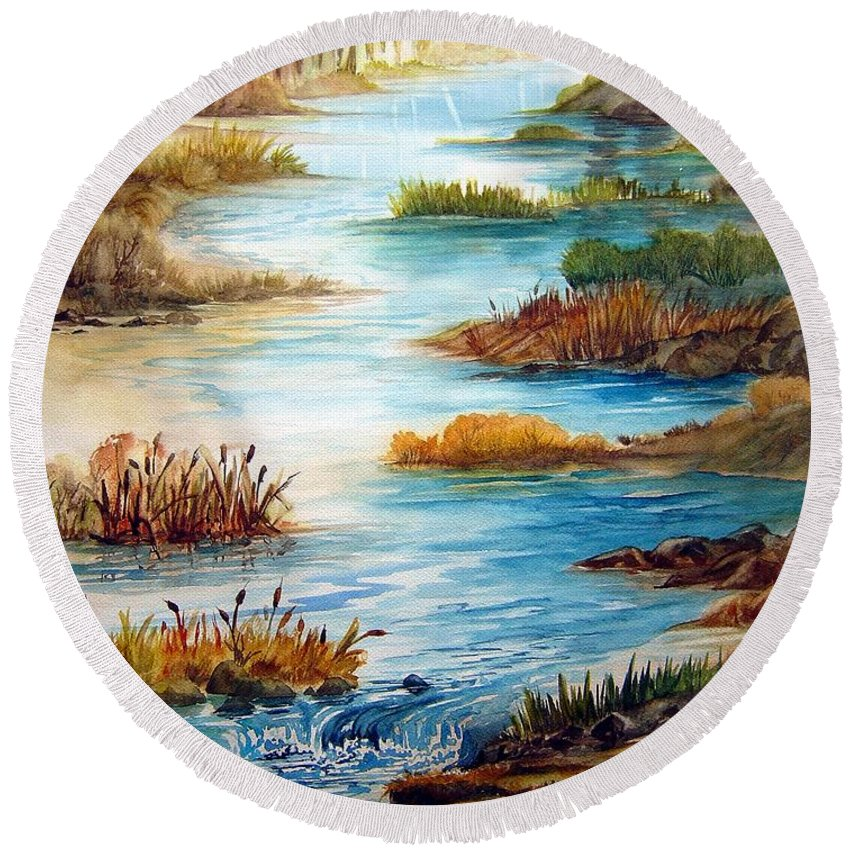 Heavens Gift Water Trees Landscape Round Beach Towel featuring the painting Heavens Gift by Joanne Smoley