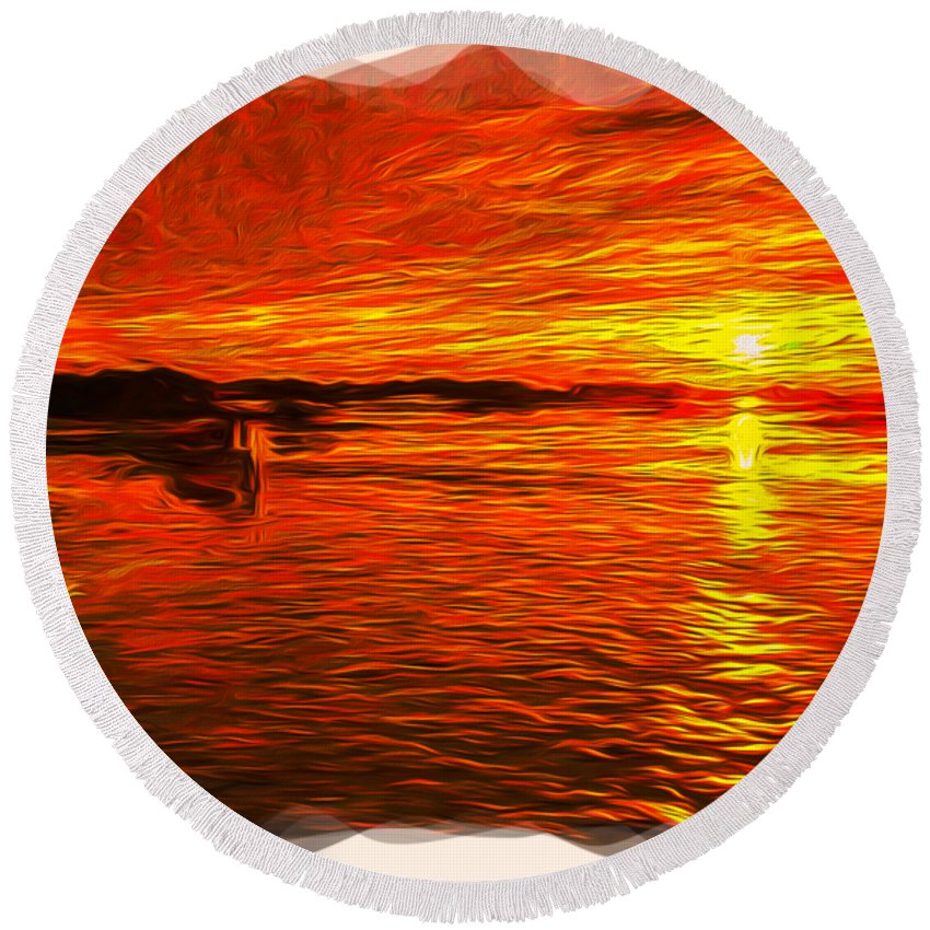 Abstract Round Beach Towel featuring the photograph Heavens Of Fire 2 by John M Bailey
