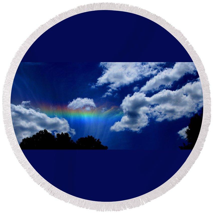 Heavens Rainbow Round Beach Towel featuring the photograph Heavens Rainbow by Linda Sannuti