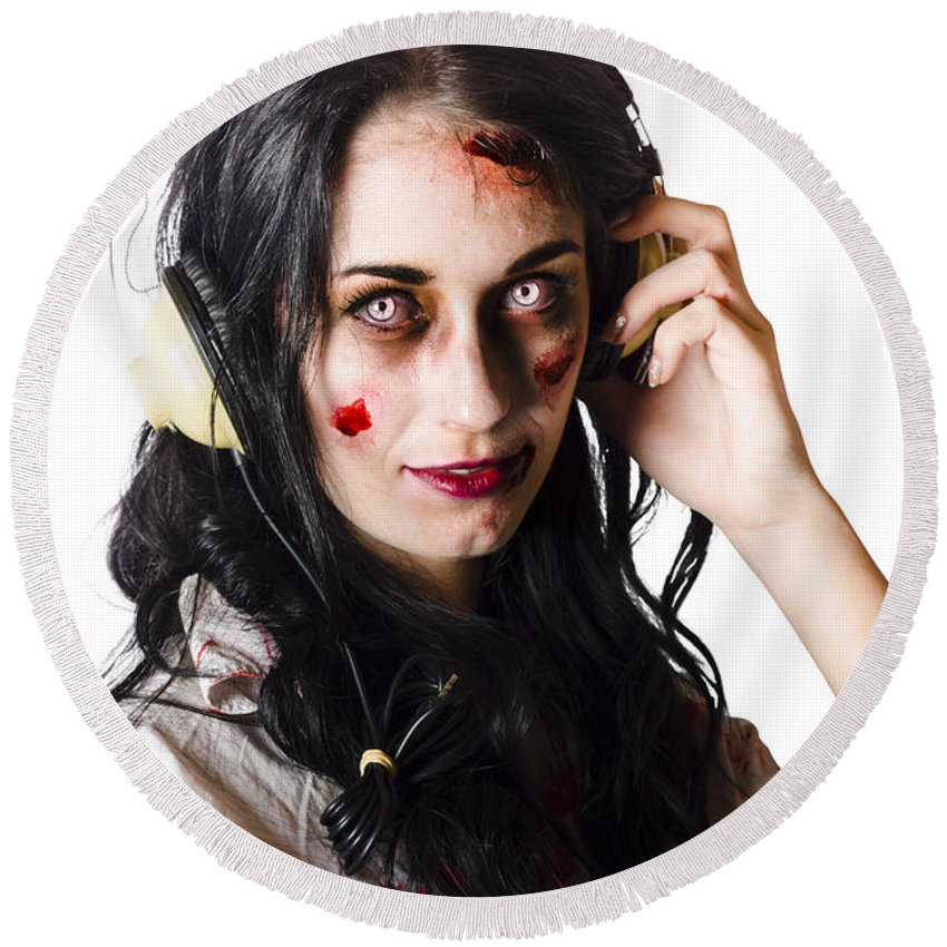 Alt Round Beach Towel featuring the photograph Heavy Metal Zombie Woman Wearing Headphones by Jorgo Photography - Wall Art Gallery