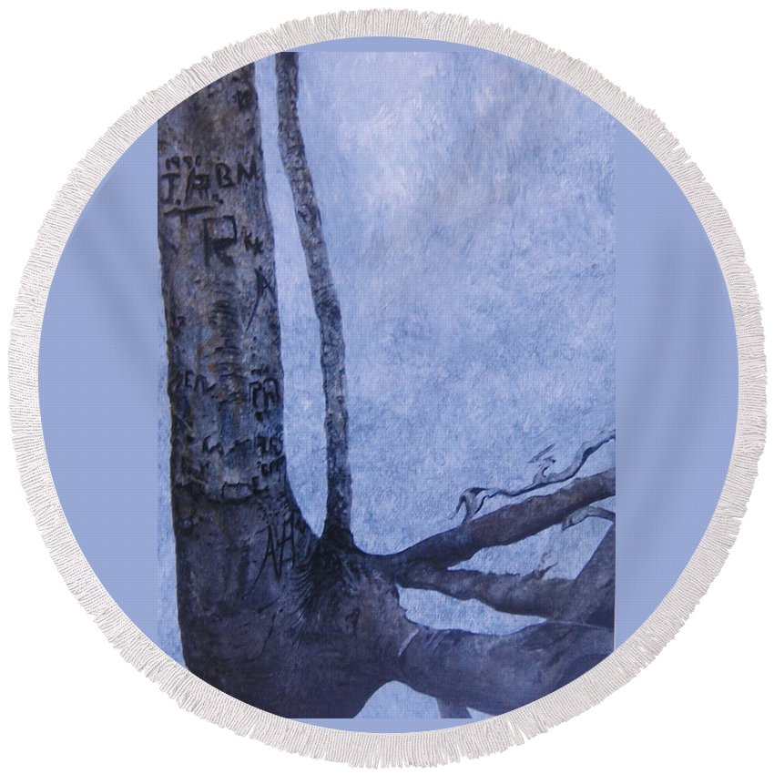 Tree Trunk Round Beach Towel featuring the painting Hedden Park II by Leah Tomaino