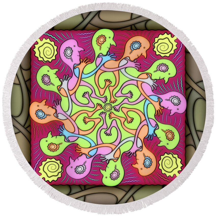 Whimsical Mandalas Round Beach Towel featuring the digital art Heel-toe Express by Becky Titus