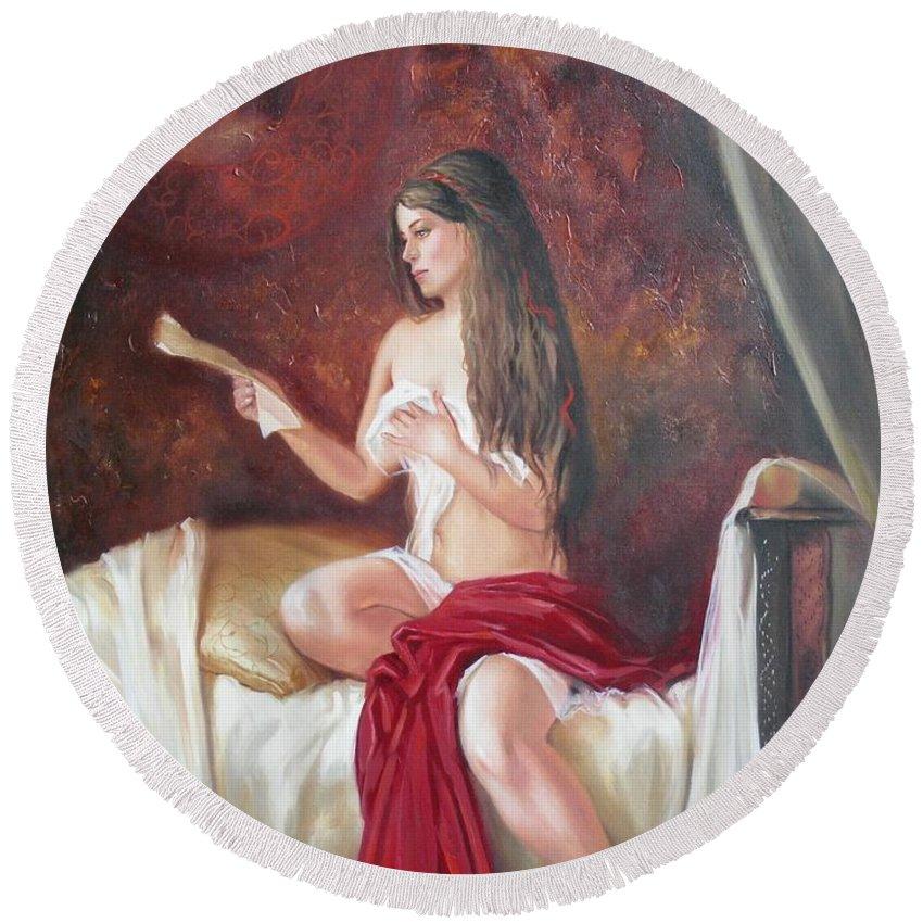 Ignatenko Round Beach Towel featuring the painting Heir by Sergey Ignatenko