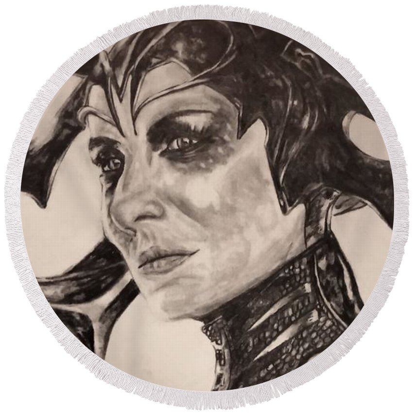 Hela Round Beach Towel featuring the drawing Hela The Goddess Of Death by Adam Visser