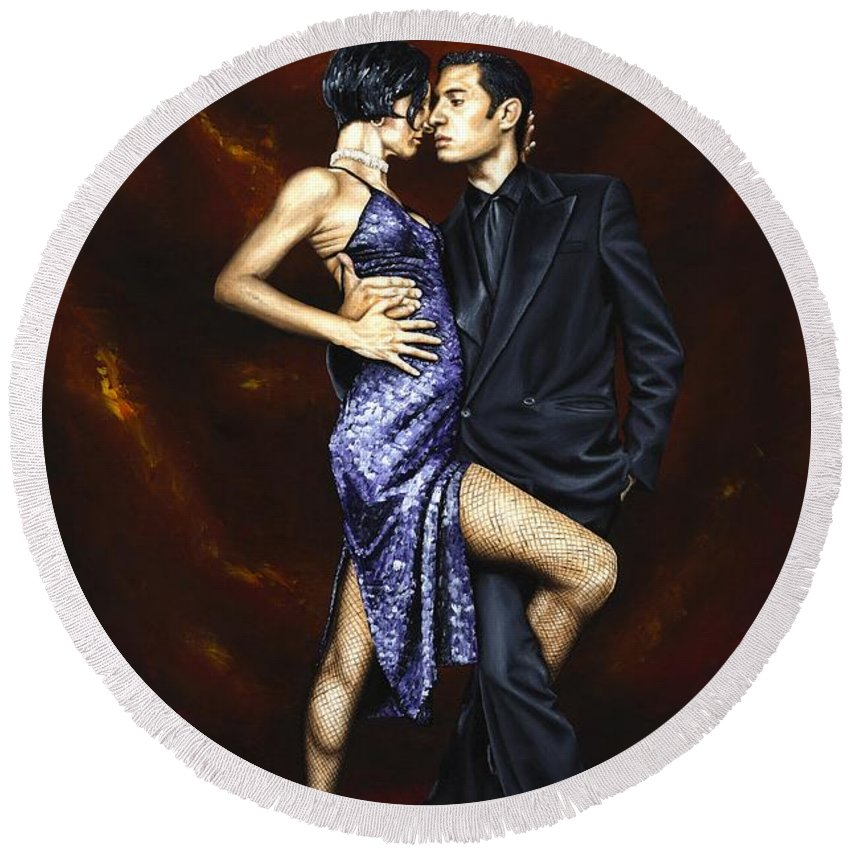 Tango Dancers Love Passion Female Male Woman Man Dance Round Beach Towel featuring the painting Held In Tango by Richard Young
