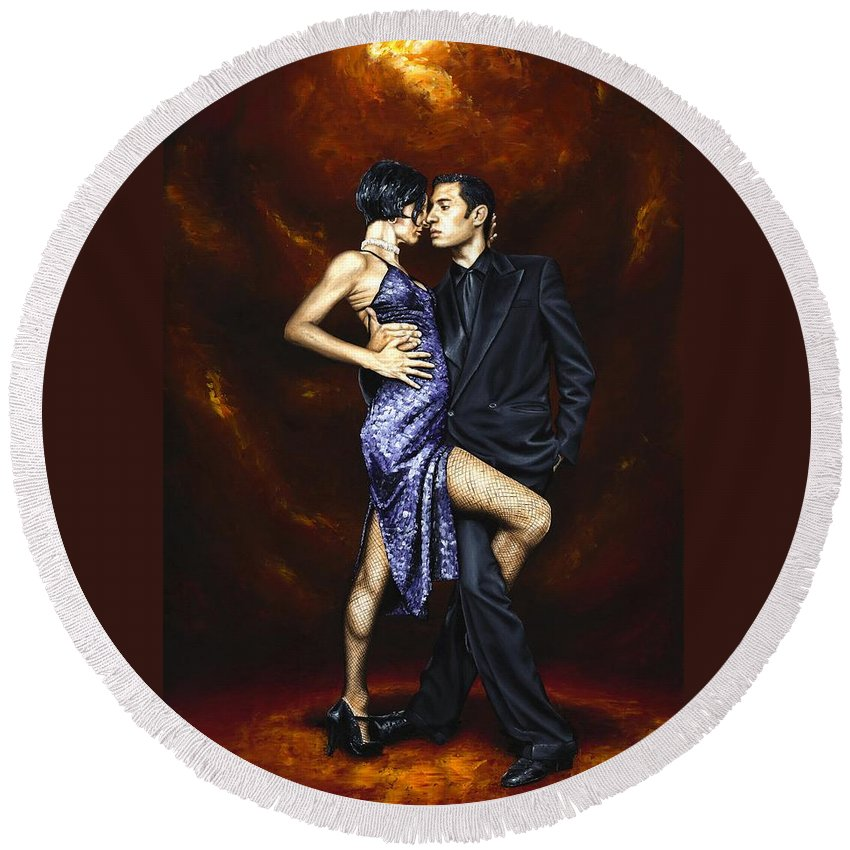 Tango Round Beach Towel featuring the painting Held in Tango by Richard Young
