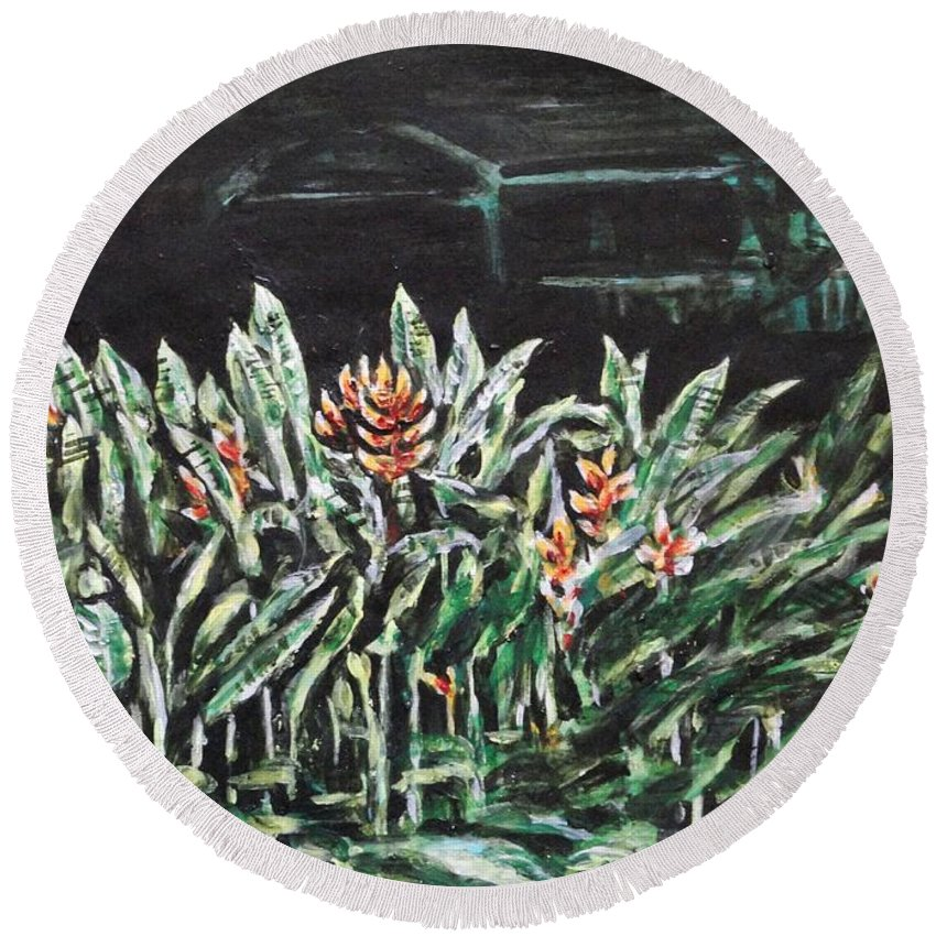 Heliconia Round Beach Towel featuring the painting Heliconia 3 by Usha Shantharam