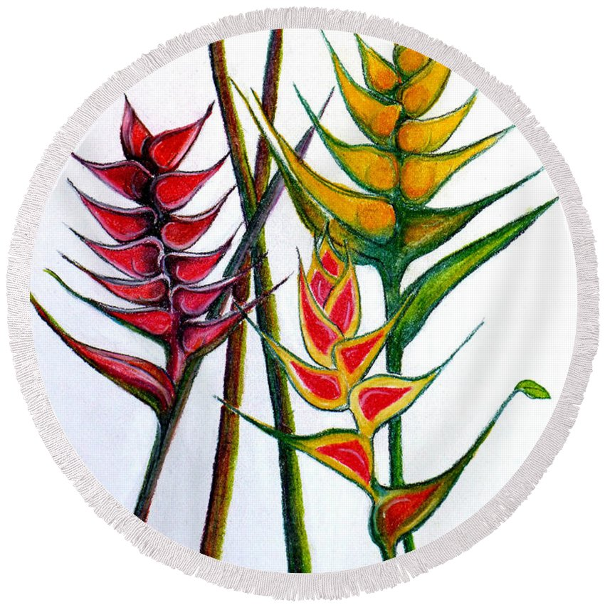 Heliconia Round Beach Towel featuring the pastel Heliconia Bihai by Karin Dawn Kelshall- Best
