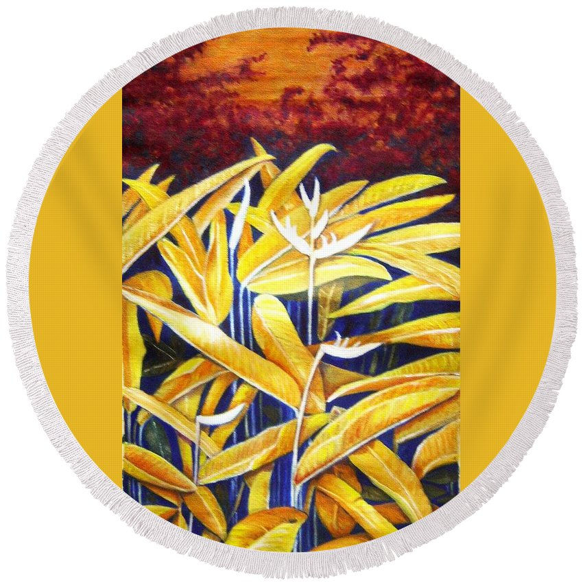 Heliconia Round Beach Towel featuring the painting Heliconia by Usha Shantharam