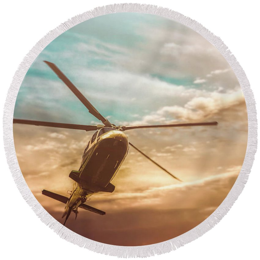 Aviation Round Beach Towel featuring the photograph Helicopter by Bob Orsillo