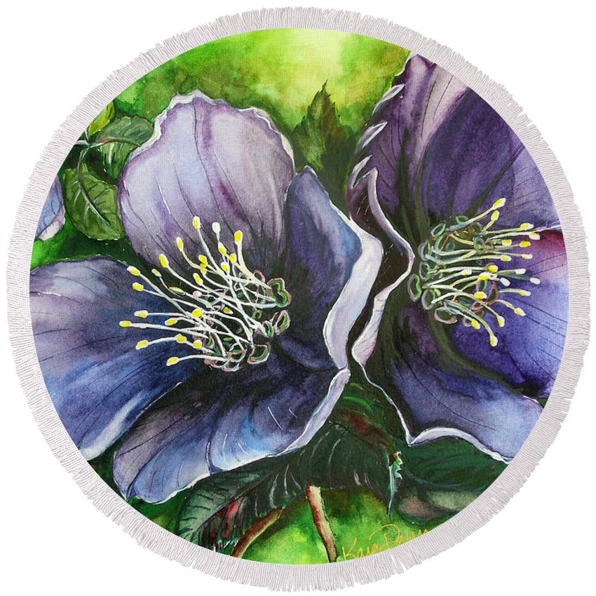 Flower Painting Botanical Painting Original W/c Painting Helleborous Painting Round Beach Towel featuring the painting Helleborous Blue Lady by Karin Dawn Kelshall- Best