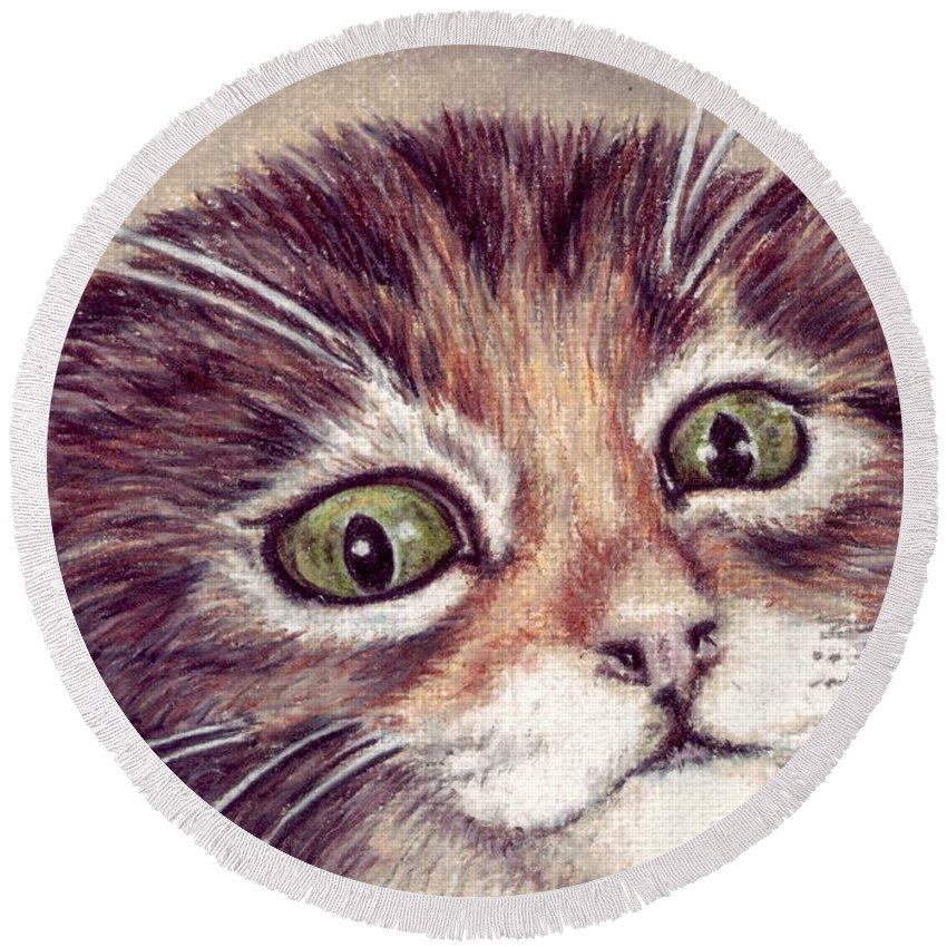 Cat Round Beach Towel featuring the drawing Hello Clarice by Kristen Wesch