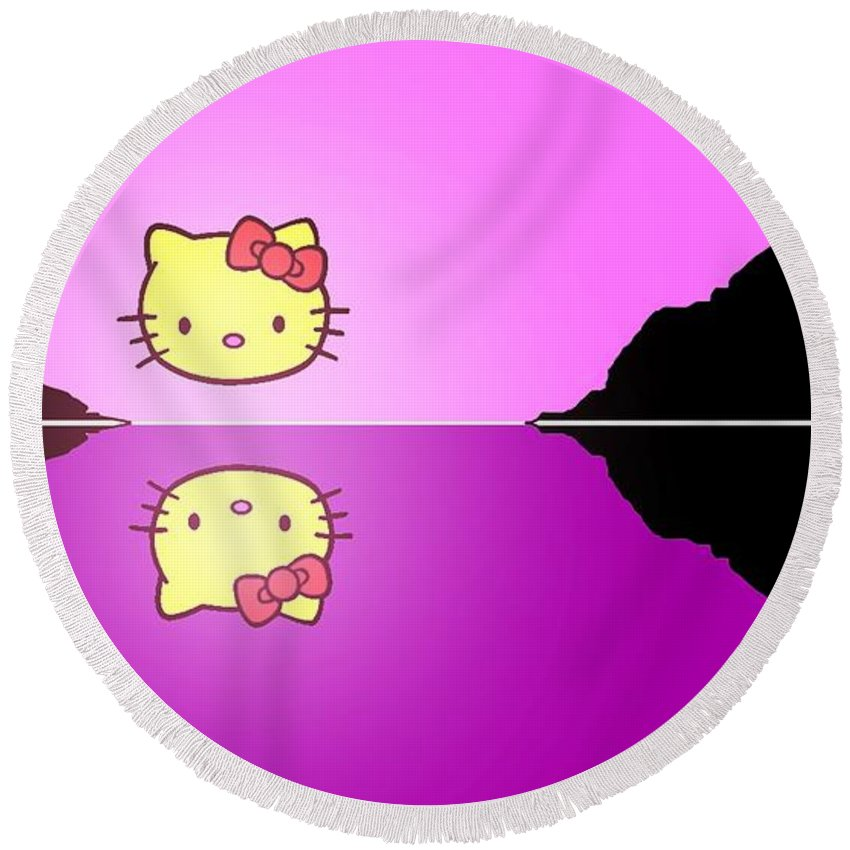 7ea4471a4 Hello Kitty Round Beach Towel featuring the painting Hello Kitty Sunrise by George  Pedro