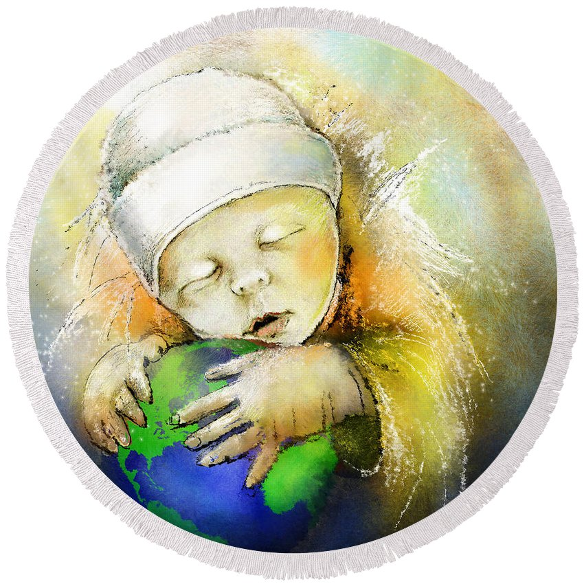 Baby Round Beach Towel featuring the painting Hello World by Miki De Goodaboom
