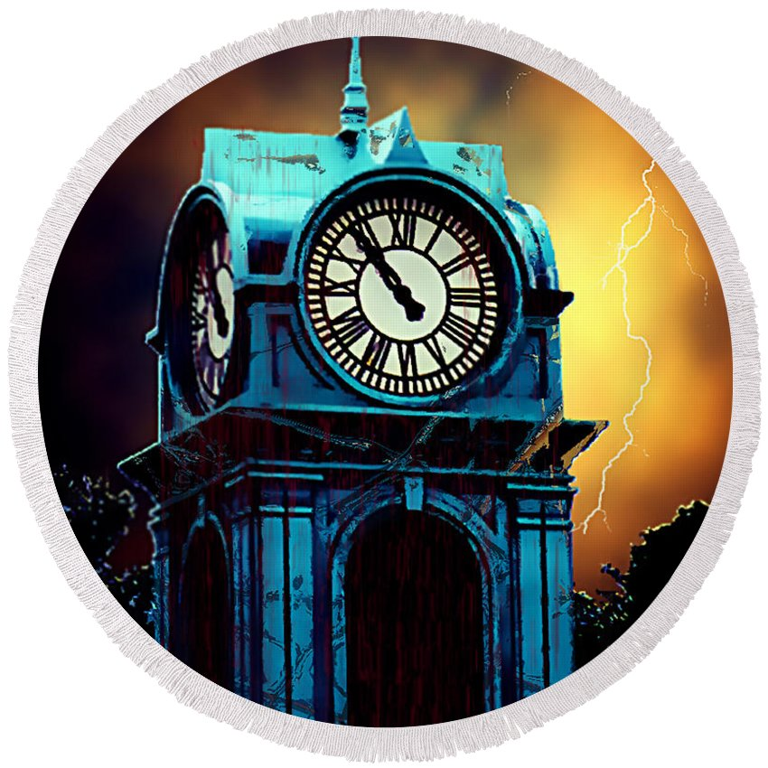 Blood Round Beach Towel featuring the painting Hells Timeclock by RC DeWinter